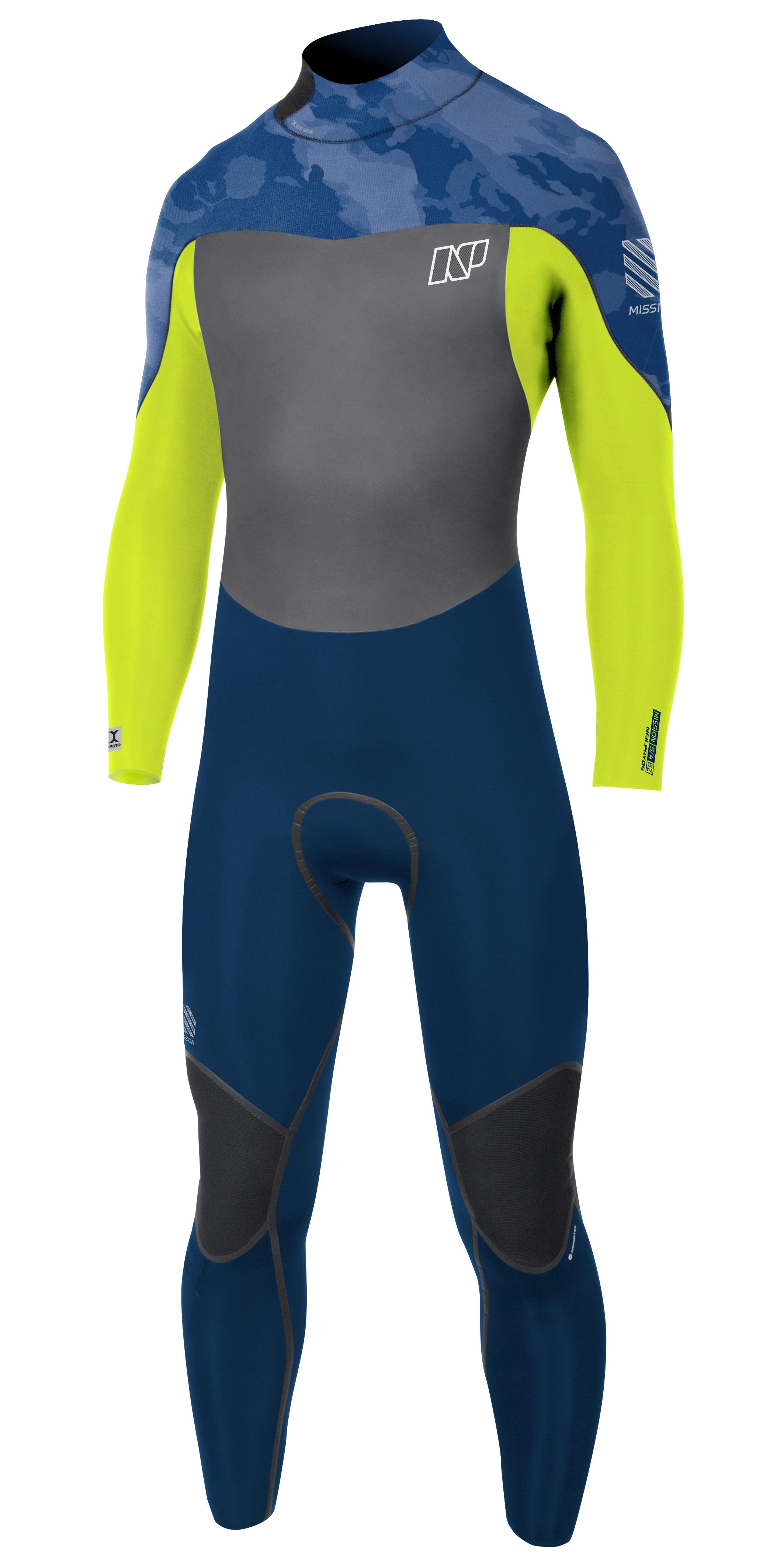NP Mission Fullsuit 5/4/3 Backzip wetsuit Blue Camo -Lime-Navy 2018